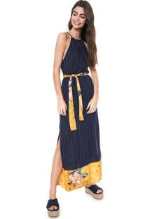 Vestido Oh, Boy! Longo Fendas Azul-Marinho/Amarelo