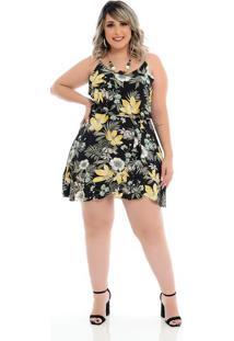 Vestido Gingado Floral Plus Size