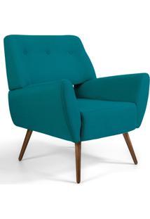 Poltrona Decorativa Fixa Pã©S Palito Melli Veludo Turquesa B-66 - Lyam Decor - Azul - Dafiti