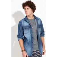 325717456 Camisa Jeans Regular Masculina Com Bolsos Hering