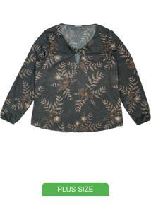 Blusa Com Estampa Floral Cinza