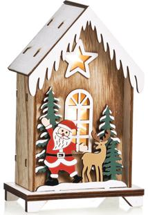 Enfeite Natal Decorativo Casinha De Madeira Led Noel E Rena