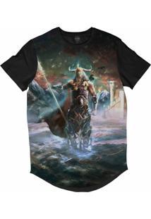 Camiseta Longline Insane 10 Cultura Viking Odin Sublimada Azul