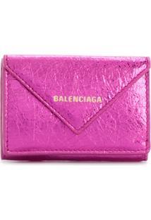 Balenciaga Carteira Mini 'Papier' De Couro - Rosa