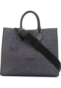 Dolce & Gabbana Bolsa Tote Edge Com Estampa De Logo - Azul