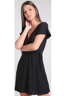 Vestido Feminino Curto Transpassado Em Laise Manga Curta Preto