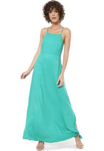Vestido Mercatto Longo Recortes Verde
