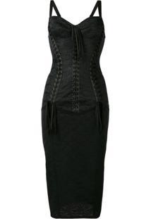 Dolce & Gabbana Vestido Midi Com Espartilho - Preto