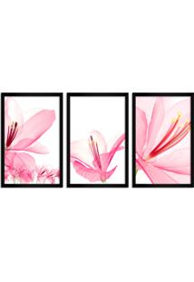Quadro Oppen House 60X120Cm Flores Abstrato Transparentes Moldura Preta Estilo Raio-X Decorativo Interiores Mod:Oh008