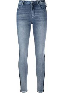 Karl Lagerfeld Calça Jeans Skinny Com Logo E Listras - Azul