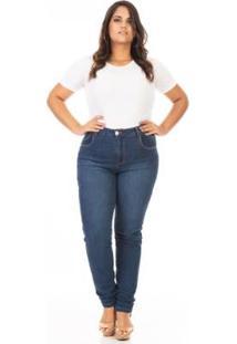 Calça Jeans Plus Size Tradicional Cigarrete Feminina - Feminino-Azul