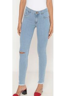 Jeans Skinny Low Com Bolsos- Azul Claro- Lança Perfulança Perfume