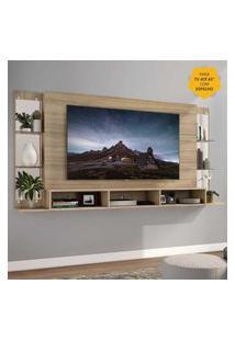 "Painel Tv 65"" C/ Espelho E Prateleiras De Vidro Nairóbi Plus Multimóveis Rustic"