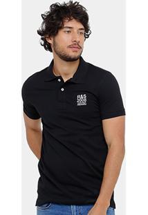 Camisa Polo Rock & Soda Piquet Bordado Contraste Masculina - Masculino