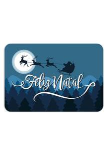 Tapete Decorativo Mdecore Feliz Natal Noite Azul 40X60Cm