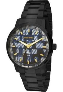 Relógio Analógico Mormaii Mo2036Hv-4A Feminino - Feminino-Preto+Azul