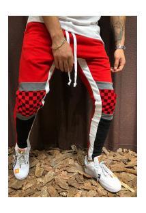 Calça Masculina Slim Chess Detail Duas Cores - Vermelho