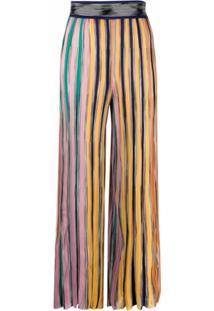 Missoni Calça Pantalona Com Listras - Amarelo