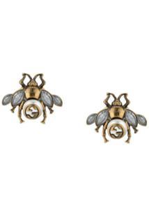 Gucci Par De Brincos 'Bee' Com Cristais - Metálico