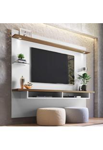 Painel Para Tv Até 60 Polegadas 4 Prateleiras Veneza Siena Móveis Off White/Nogueira