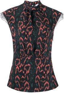Calvin Klein Python Print Lace Trim Blouse - Preto