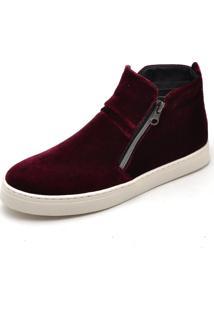 Bota Botinha Top Franca Shoes Hiate Veludo Bordô