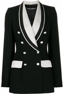 Dolce & Gabbana Blazer Bicolor Com Abotoamento Duplo - Preto