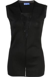 Mugler Blusa Com Recortes Translúcidos - Preto