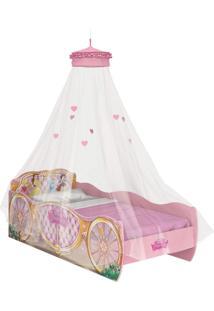 Cama Princesas Disney Star C/Dorsel De Teto Rosa Pura Magia