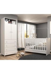 Quarto Infantil Completo Roupeiro + Berço 4 Em 1 Escrivaninha E Colchão Incluso Amore Plus Multimóveis