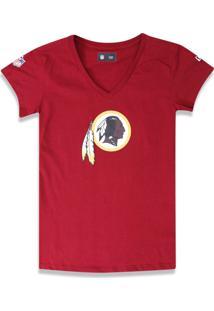 T-Shirt New Era Baby Look Washington Redskins Vermelho Escuro - Kanui