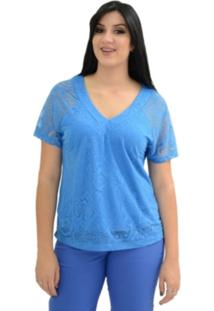 Blusa Energia Fashion Devoré Azul