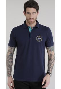 """Polo Em Piquet """"Tropical"""" Azul Marinho"""