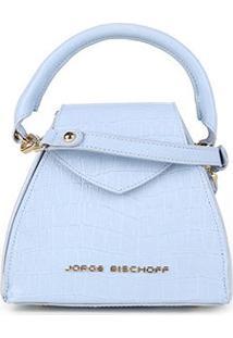 Bolsa Couro Jorge Bischoff Mini Bag Com Textura Feminina - Feminino-Azul
