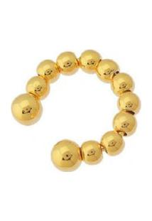 Brinco Piercing Esferas Douradas Banhado A Ouro 18K