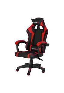 Cadeira Gamer Hudson Preta E Vermelha Base Rodizio 107Cm - 62579 Preto E Vermelho