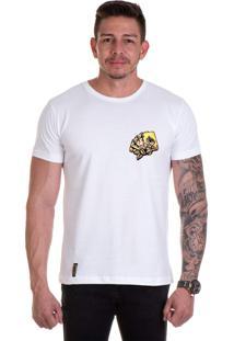 Camiseta Lucas Lunny T Shirt Gola Redonda Cartas Rosas Lateral Branca