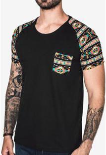 Camiseta Raglan Étnica Masculina - Masculino-Preto