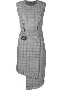 Delada Vestido Xadrez Com Cinto - Cinza