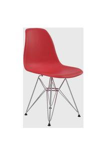 Cadeira Eiffel Sem Br Vermelho Base Cromada Rivatti