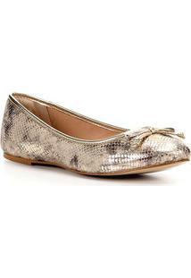 Sapatilha Couro Shoestock Cobra Laço Feminina - Feminino-Dourado