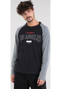 "Camiseta Masculina ""Los Angeles"" Raglan Manga Longa Gola Careca Preta"