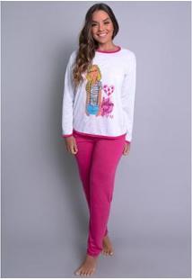 Pijama Mvb Modas Longo Inverno Feminino - Feminino-Rosa