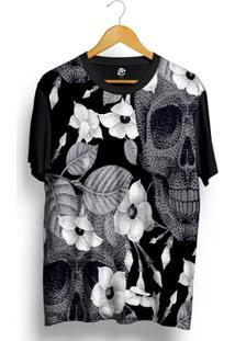 Camiseta Bsc Skull Floral Full Print - Masculino