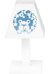 Abajur Urso Nas Estrelas Azul Mdf - Azul Bebê - Ursinhos