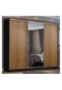 Guarda Roupa Casal 100% Mdf Madesa Zurique 3 Portas De Correr Com Espelho - Preto/Rustic