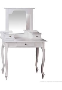 Penteadeira 3 Gavetas Com Espelho E Pés Luis Xv 1046 Branco - Urbe Móveis