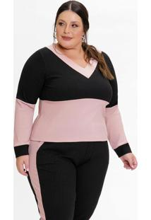 Blusa Plus Size Canelada Preta E Rose