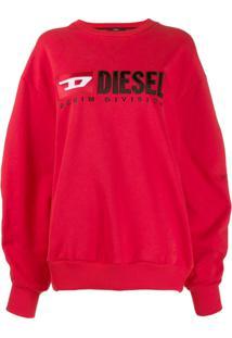 Diesel Moletom Com Logo - Vermelho