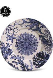 Conjunto 6Pçs Pratos De Sobremesa Porto Brasil Mônaco Coral Branco/Azul